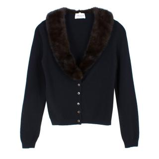 Blumarine wool knit and mink fur collar cardigan