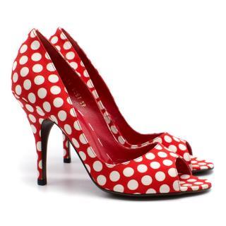 Walter Steiger dotted open toe heels