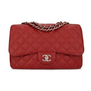 CHANEL Red Caviar Single Flap Jumbo Bag