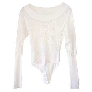 Alaia Paris White Viscose Bodysuit