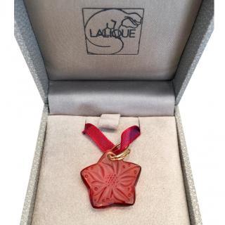 Lalique Original Carmine Red Flower on Grosgrain Ribbon