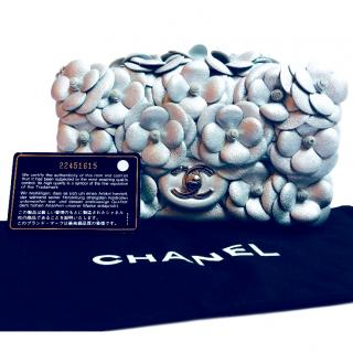Chanel Limited Edition Silver Leather Camellia Flower Flap Bag
