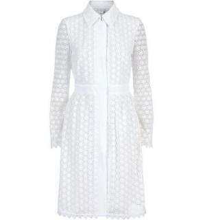 DVF Diane Von Furstenberg 'Waldorf' Ivory Lace Cocktail Coat