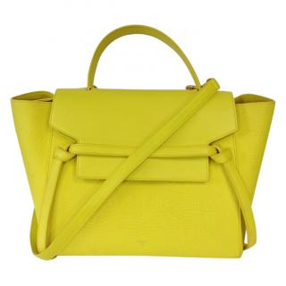 Celine Yellow Pebbled Leather Mini Belt Bag
