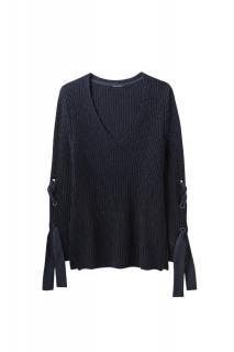 Luisa Cerano Navy Rib Knit Sweater
