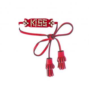 Shourouk Leather and Swarovsky Red Kiss Bracelet