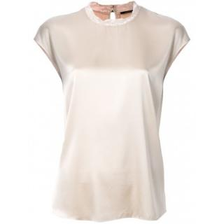 Luisa Cerano Gold Silk Blend Lace Neck Top