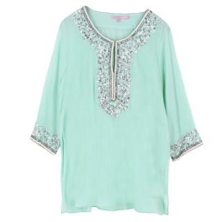 Calypso St. Barth Embellished Sheer Top