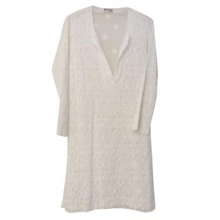 Juliet Dunn London White Classic Kaftan with Embroidery