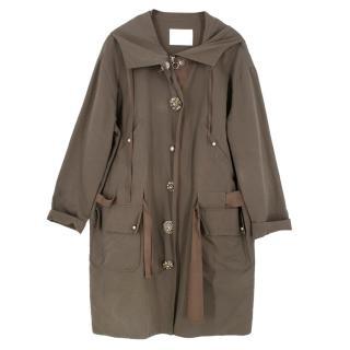 Lanvin Khaki Embellished Button Trench Coat