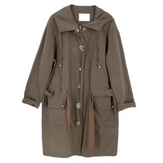 Lanvin Khaki Embellished Button Trench Coat