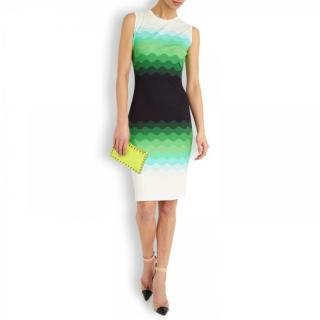 Jonathan Saunders Green Ombre Printed Jersey Dress