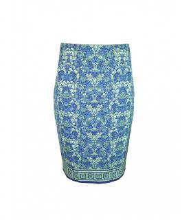 Versace Green and Navy Printed Skirt
