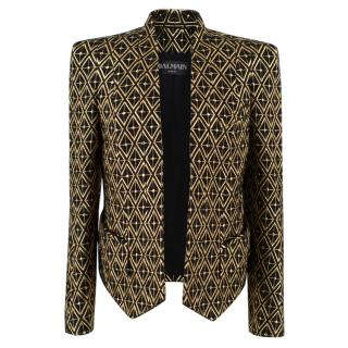 Balmain gold embroidered wool blend blazer