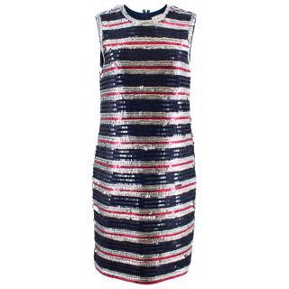 Lanvin Silk Sequin Stripe Shift Dress