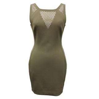 Versace Khaki Crystal Dress