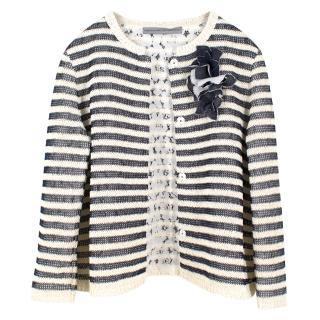 Ermanno Scervino Monochrome Striped Cardigan