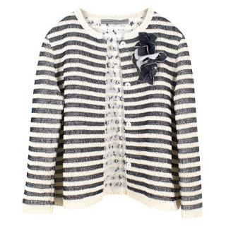 Ermanno Scervino Monochrome Striped Cardigan