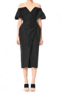Carolina Herrera black silk off shoulder ruched dress