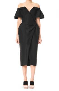 Carolina Herrera black silk off shoulder ruched dress