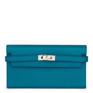 Hermes Bleu Colvert Epsom Leather Tri-Fold Long Wallet