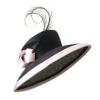 Philip Somerville Black Straw Feather & Pink Satin Trim Knot Hat