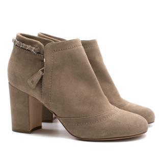 Chanel beige suede glitter ankle boots