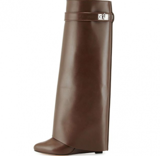 Givenchy Shark Lock Leather Fold-Over Boot