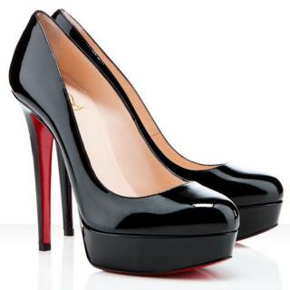 Christian Louboutin 140 Black Patent Bianca Pumps