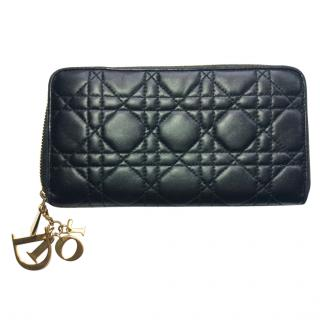 Dior Lady Dior black leather purse