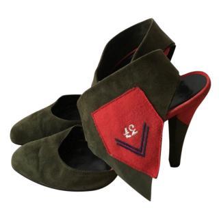 ae5a90f67bb01b Bruno Frisoni Green suede heels
