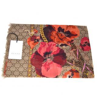 Gucci floral print logo scarf/shawl