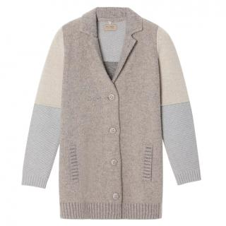 FALCONERI midi cardi-coat in beige-sand-sky blue