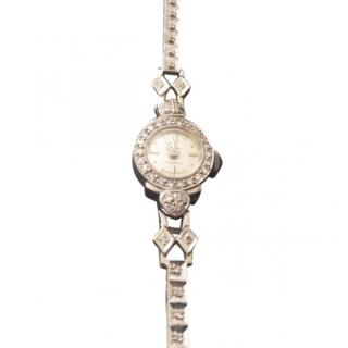 Vintage heirloom white gold and diamond cocktail watch