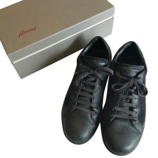 Brioni navy blue leather and suede trainers UK 11 EU 45 RRP �450