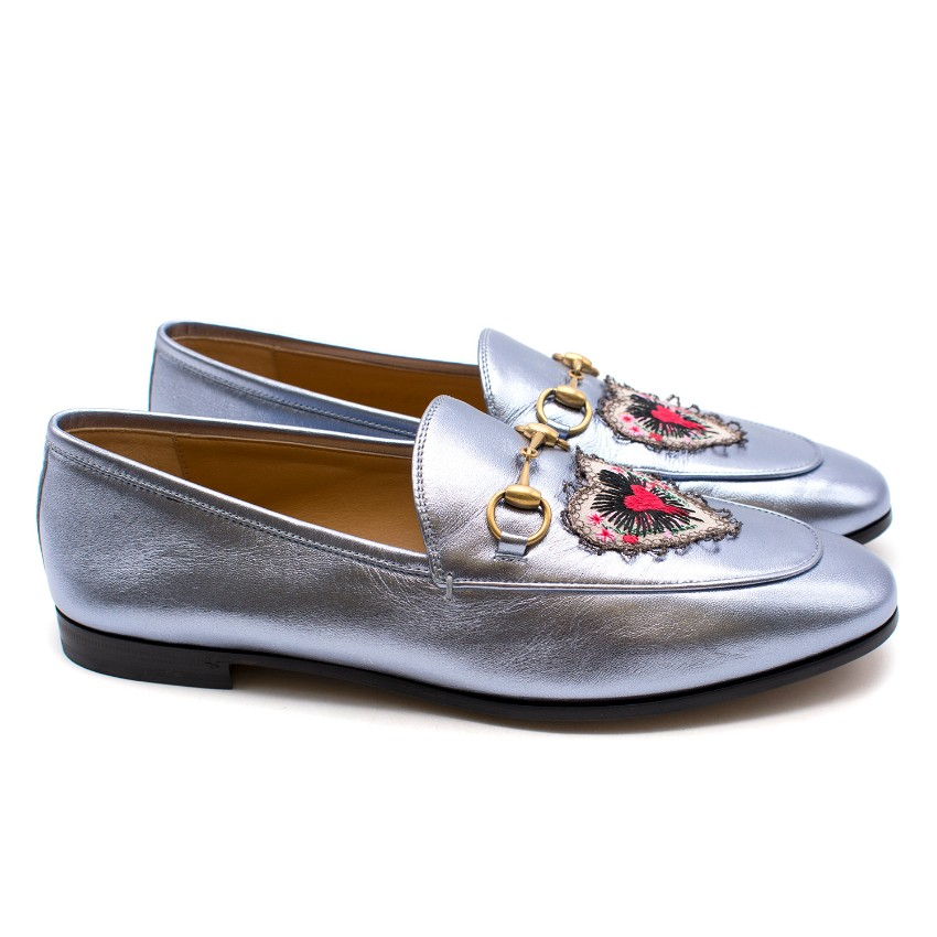 237cf82d2651 Gucci Jordaan Metallic Leather Loafers