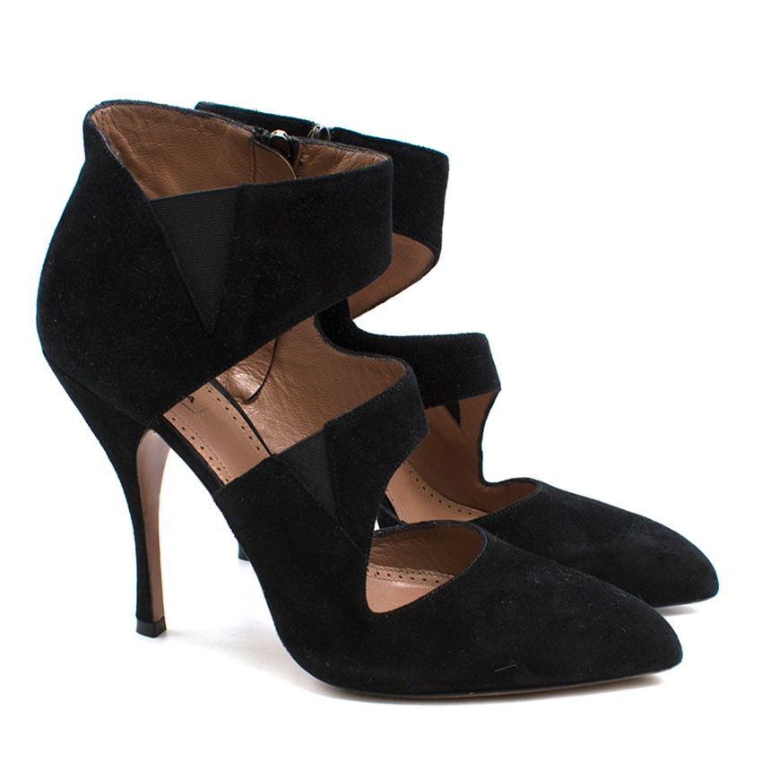 Alaia Suede Cutout Crossover Pumps