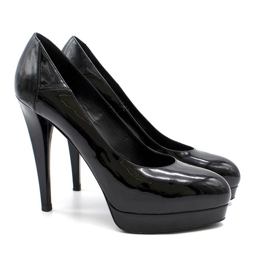 Yves Saint Laurent Janis Black Patent Heeled Pumps