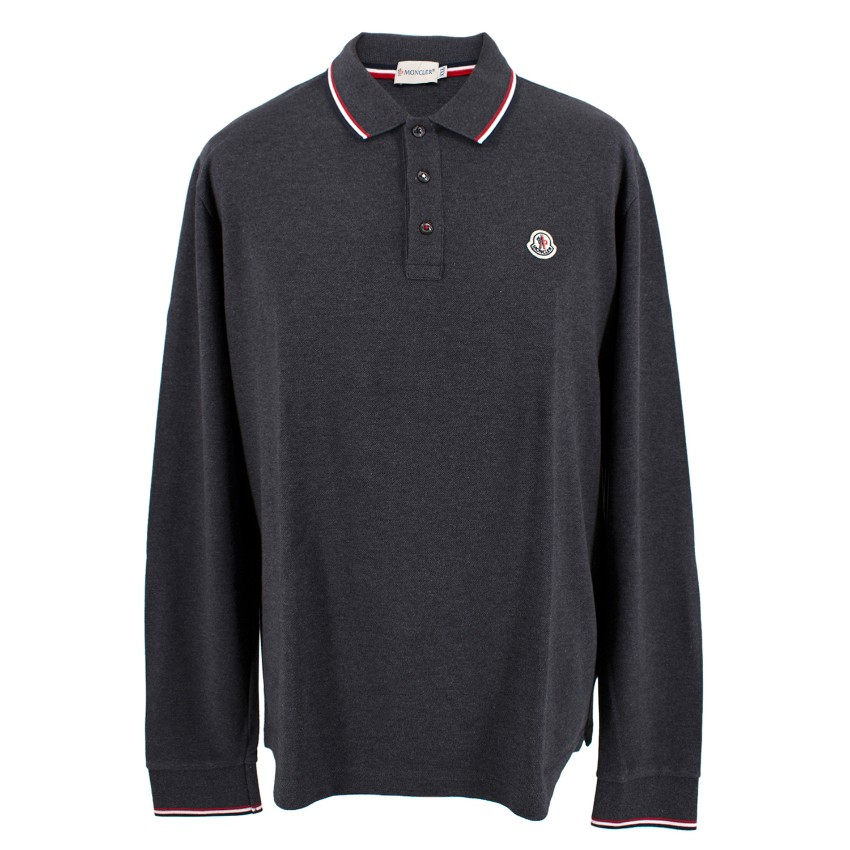 4087202935c0 Moncler Mens Dark Grey Long Sleeve Polo