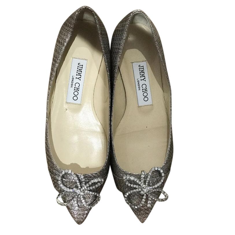 Jimmy Choo Glitter Bow Embellished Ballet Flats
