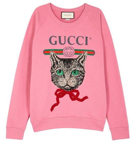 1ddc8bc57e3 Gucci Pink Mystic Cat Sweatshirt