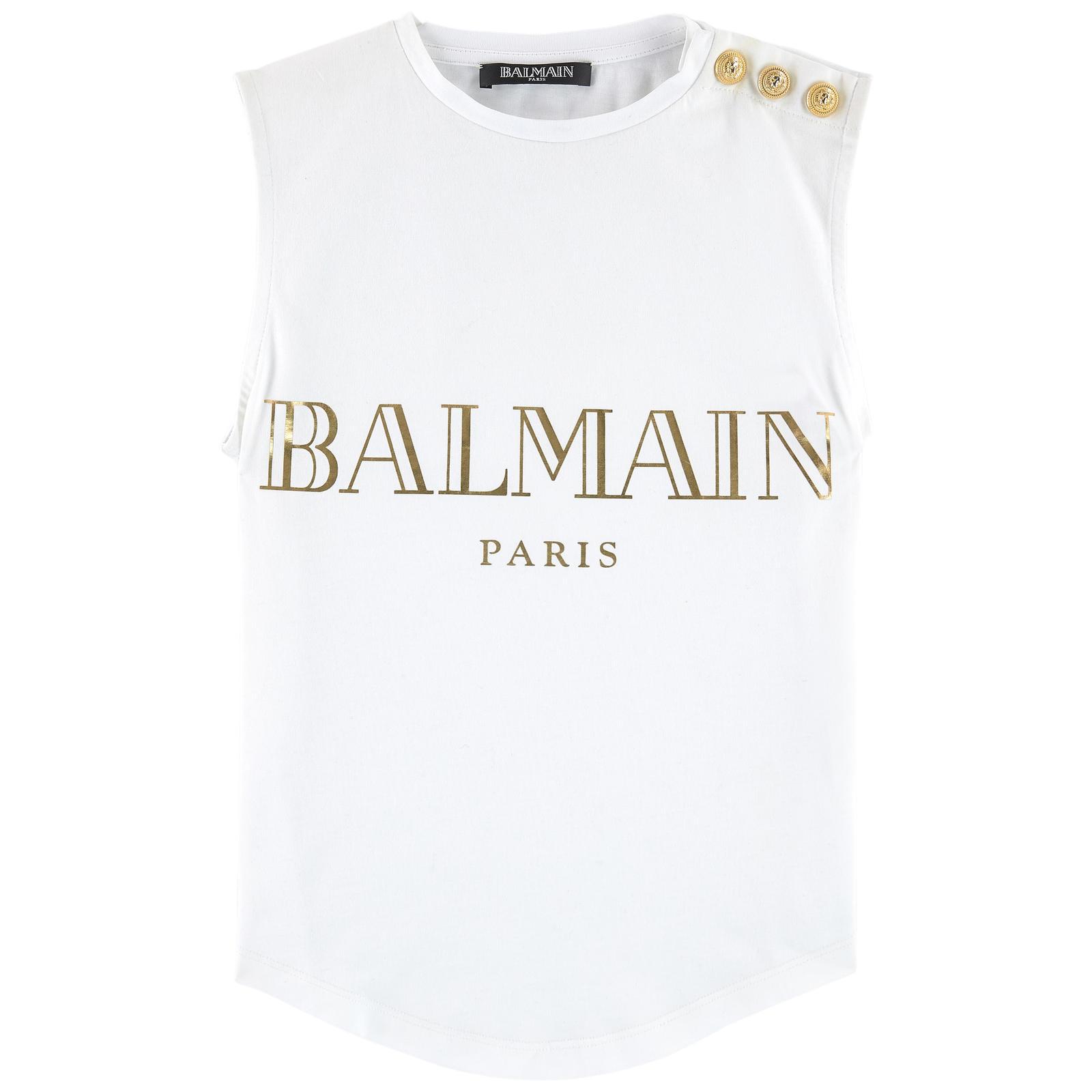 2423551ea Balmain White And Gold Sleeveless Tshirt   HEWI London