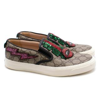 Gucci Monogram Sequin Slip On Loafers