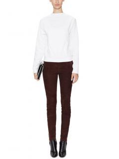 J Brand dark brown lambskin suede trousers