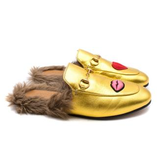 Gucci Gold Leather Princetown Backless Loafers
