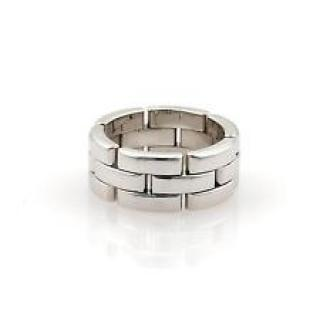 Cartier 18K White Gold Maillon Panthere 3 Row Link Ring 63