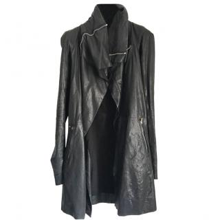 Rick Owens black leather coat