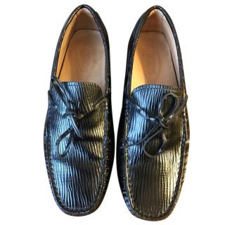 TOD'S Black Leather  Moccasins
