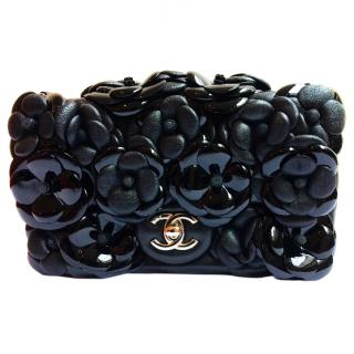 Chanel Limited Edition Black Leather Camellia Flower Flap Bag