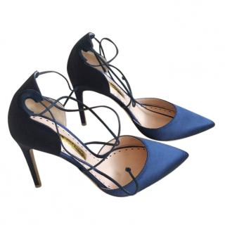 Rupert Sanderson UK 5/ Euro 38 blue satin stilettos
